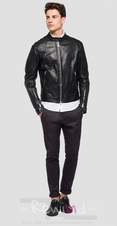 meet c3a08 9b3b5 Giubbotto biker in pelle Replay uomo- vende Rewind